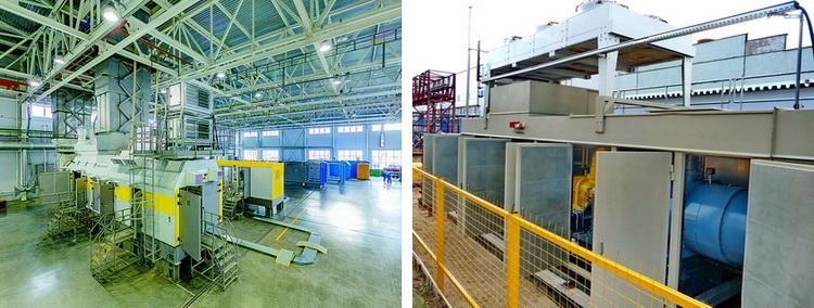 Испытательный стенд газовых турбин «ОДК-ГТ» (слева) и компрессорная станция «ЭНЕРГАЗ»