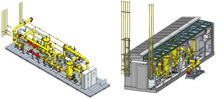 3D-модель газоприемной станции «ЭНЕРГАЗ» для ГТЭС-100 МВт на Новополоцкой ТЭЦ