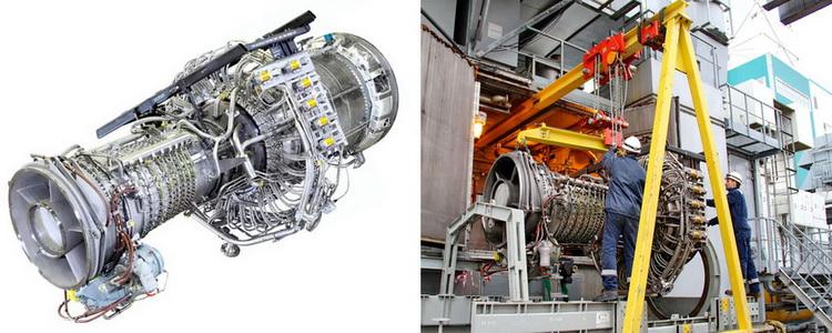 Макет турбины LM2500. Демонтаж газогенератора ГТУ для модернизации (ГТ ТЭЦ «Луч», 2019 год)